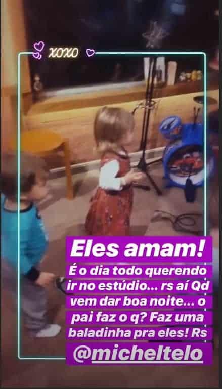 Os filhos de Michel Teló dançando no estúdio