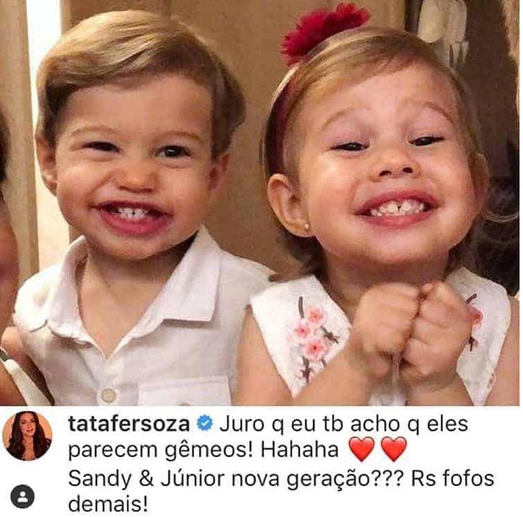 Thaís Fersoza fez uma comparação de seus filhos com Sandy e Junior