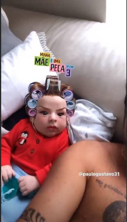 Thammt Miranda mostrou seu filho com filtro da Dona Hermínia