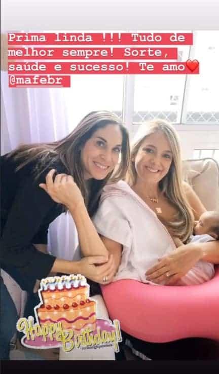 Ticiane Pinheiro com a prima e com Manuella