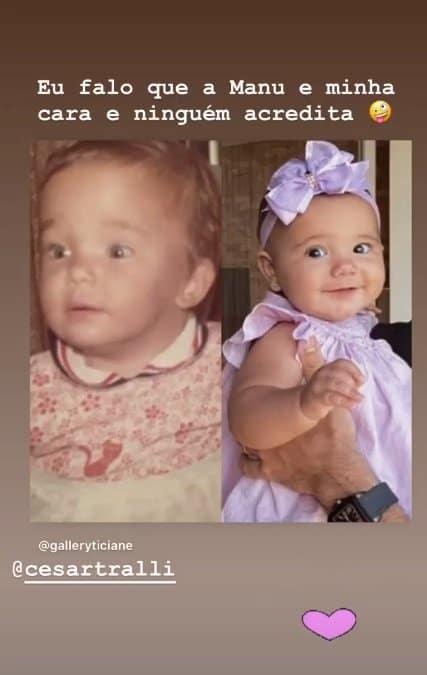 Ticiane Pinheiro comparando uma foto da infância com a pequena Manuella