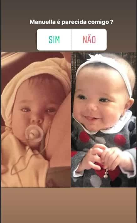 A apresentadora Ticiane Pinheiro quando bebê e sua filha Manuella