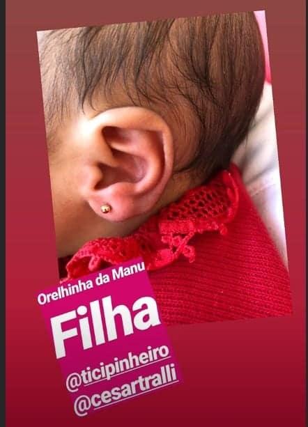 Orelhinha da bebê de Ticiane Pinheiro com o brinco