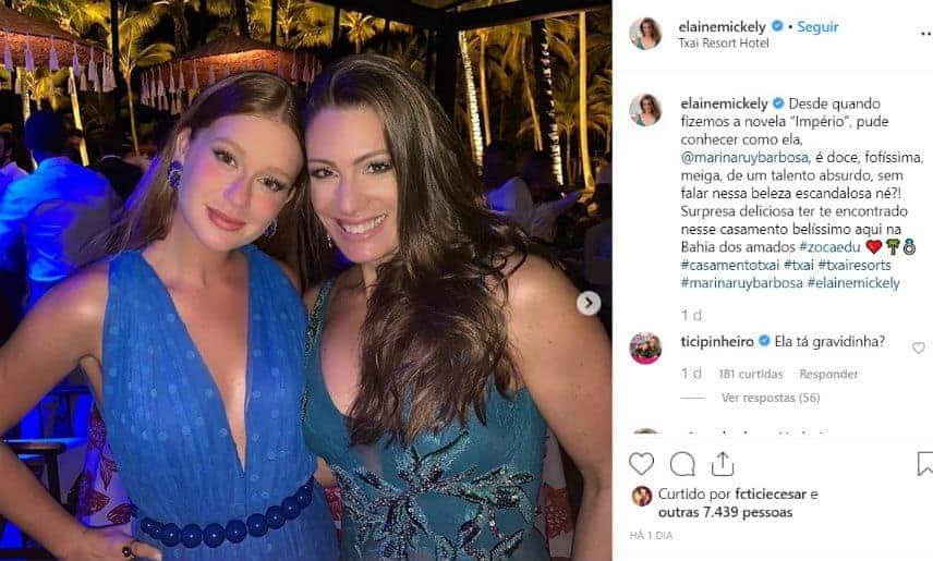 Ticiane Pinheiro questionou sobre uma possível gravidez de Marina Ruy Barbosa