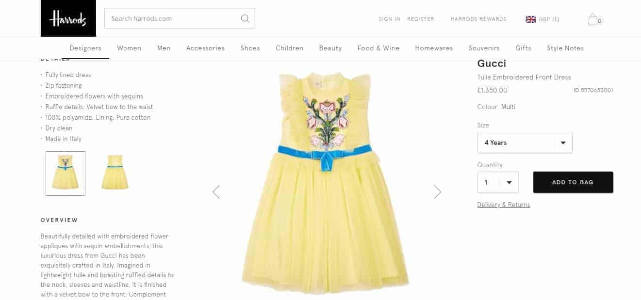 O mesmo modelo do vestido de Titi que está a venda no site da Harrolds
