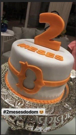 O lindo bolo para celebrar mais um mês de vida do Dom