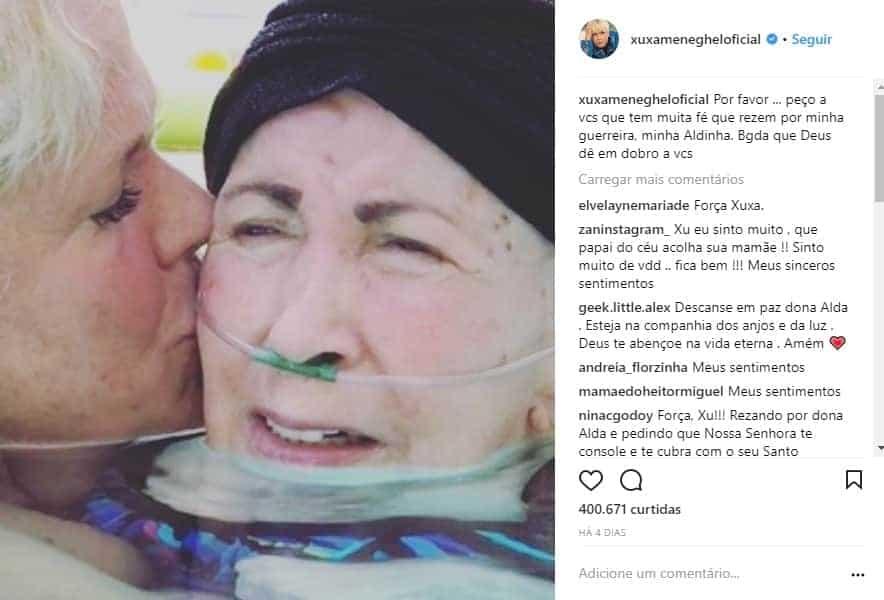 Numa postagem em suas redes sociais Xuxa pediu orações para a sua mãe