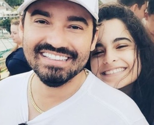 O cantor Fernando Zor com sua filha mais velha