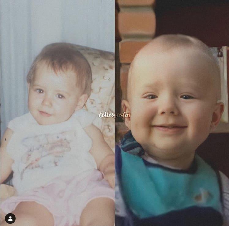 Letícia Colin na infância com seu bebê