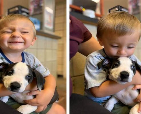 O menino ganhou um filhotinho com a mesma característica
