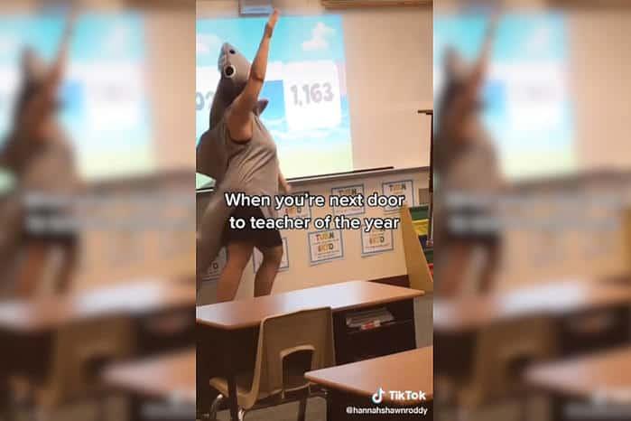 O vídeo da professora dando aula vestida de tubarão viralizou