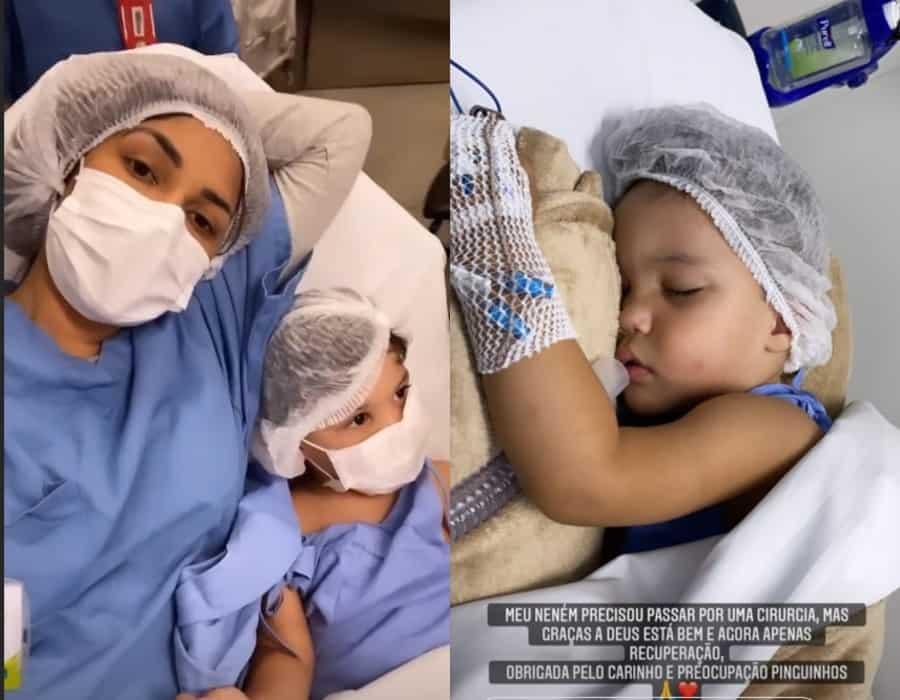 Flayslane com seu filho antes de operar e depois
