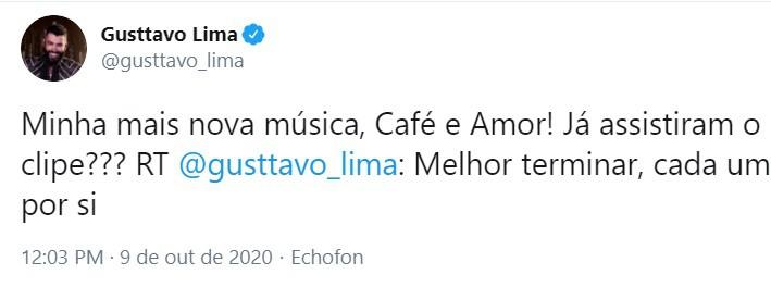 Gusttavo Lima em divulgação de música sobre separação