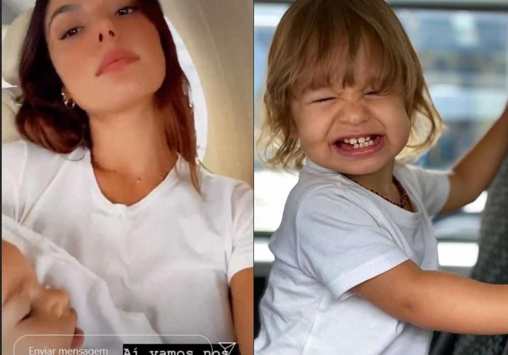 Isis Valverde com seu bebê Rael no avião particular