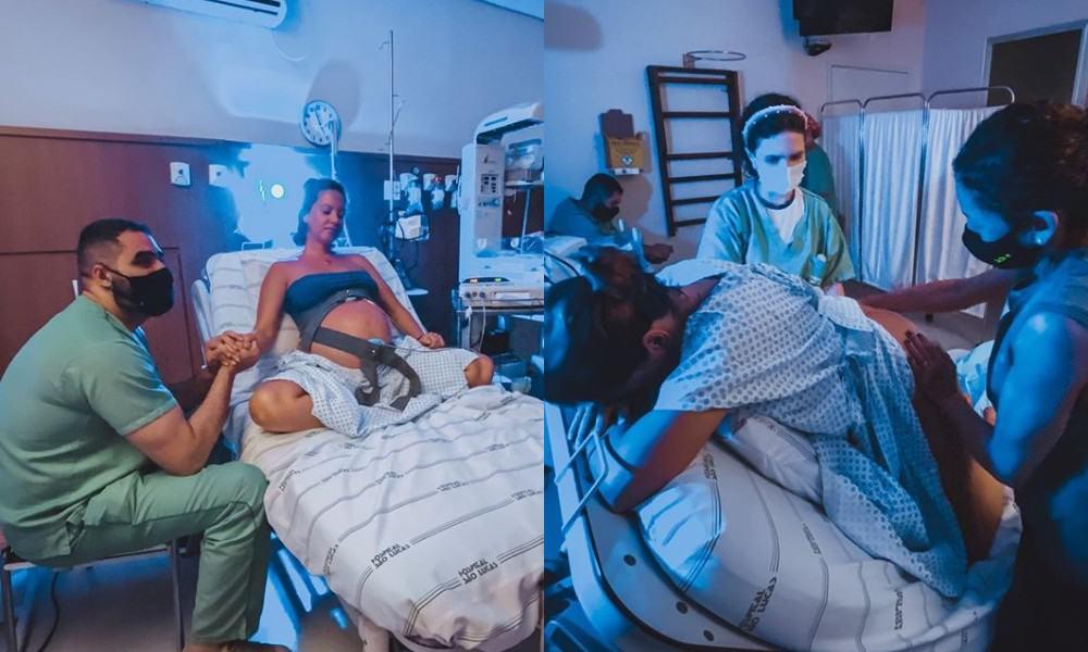Ex-BBB Juliana Goes no trabalho de parto do segundo bebê