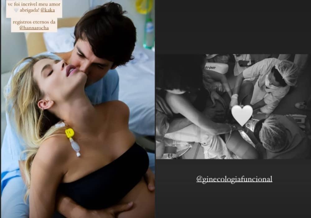 Carol Dias revelou foto do nascimento da filha com Kaká