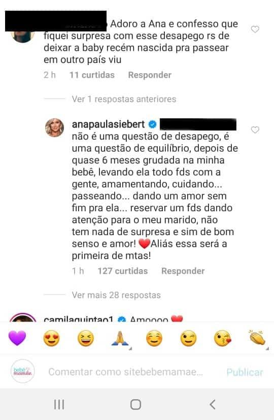 Ana Paula Siebert respondendo críticas por viajar sem sua filha com Roberto Justus