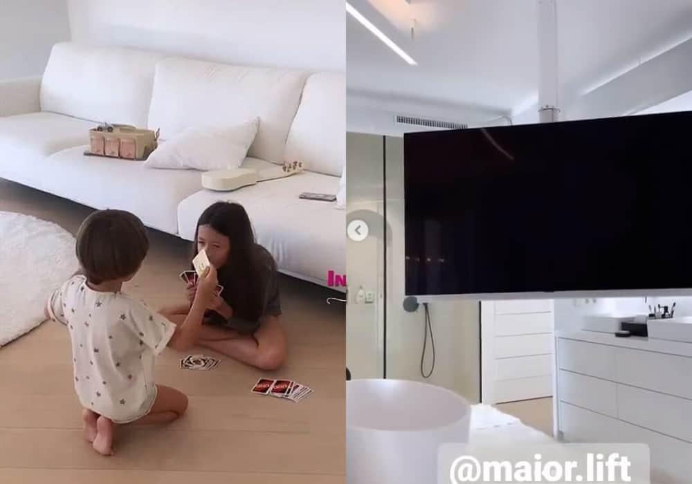 Filhos de Simaria na casa da família na Espanha