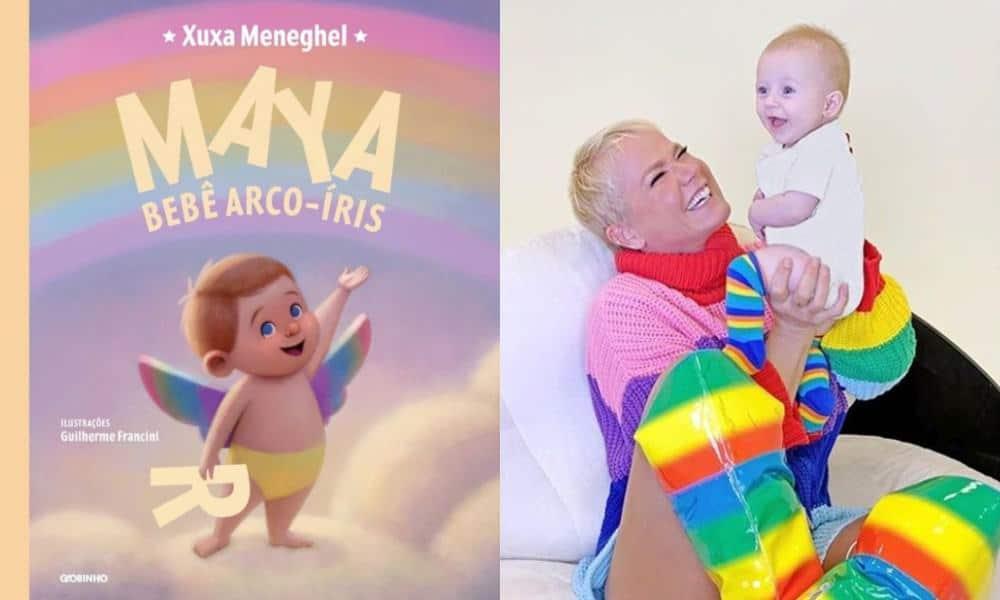 Capa do livro de Xuxa Meneghel e ela com a afilhada