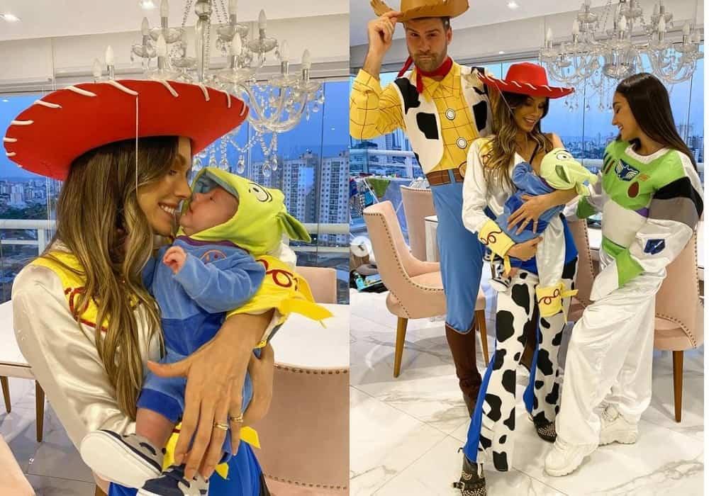 Flávia Viana comemorando o mêsversário do filho