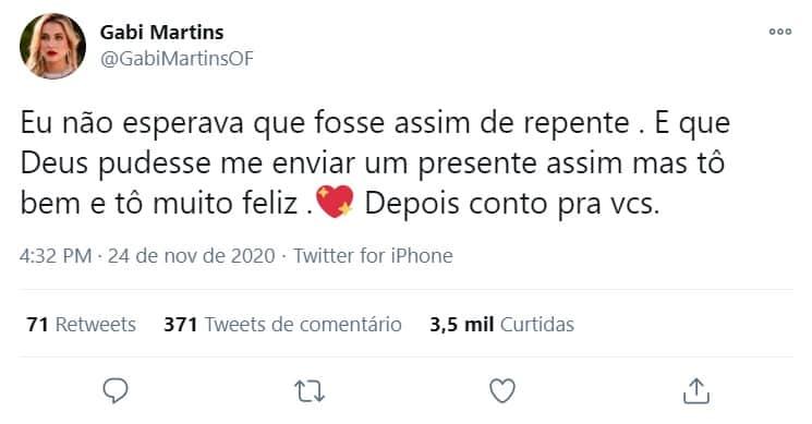 Comentário de Gabi Martins levantou suspeita de gravidez