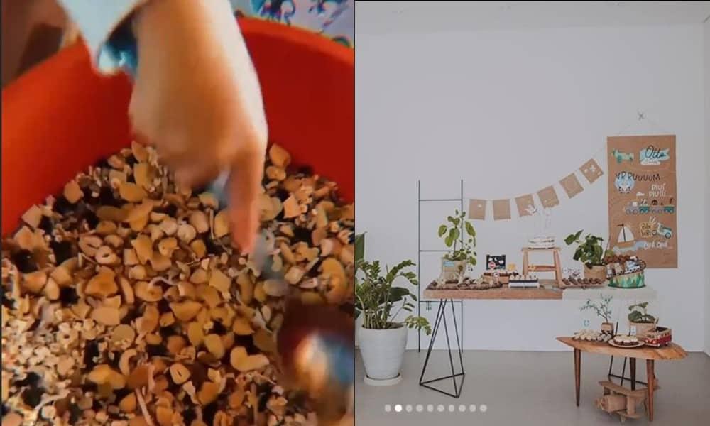 Otto, filho de Junior, preparando granola, e a festa dele