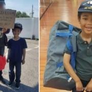 O menino monta kits de sobrevivência para ajudar os veteranos