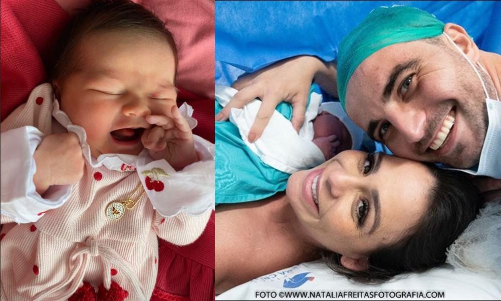 A neta recém-nascida de Chitãozinho