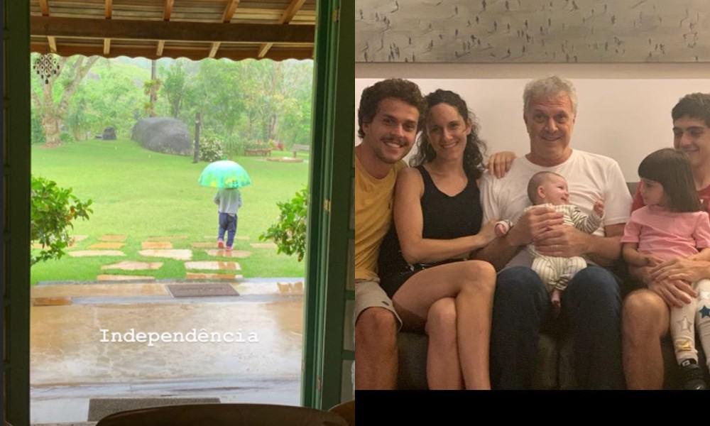 Laura, filha de Pedro Bial, e o jornalista com seus filhos