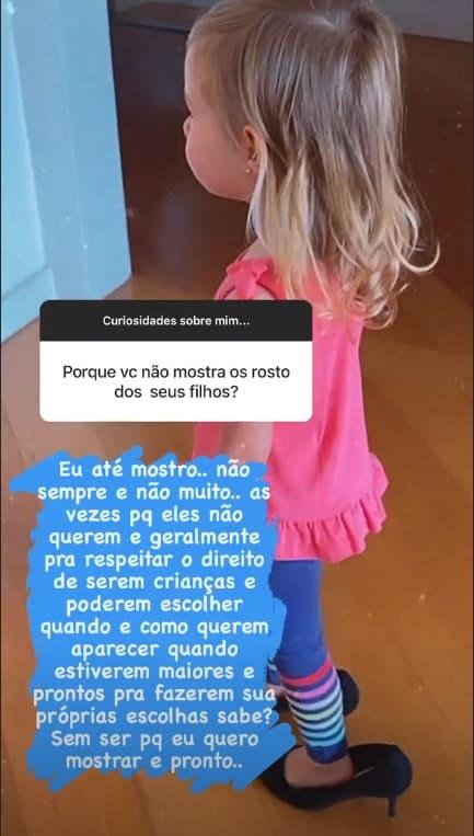 Thaís Fersoza falando sobre exposição dos filhos