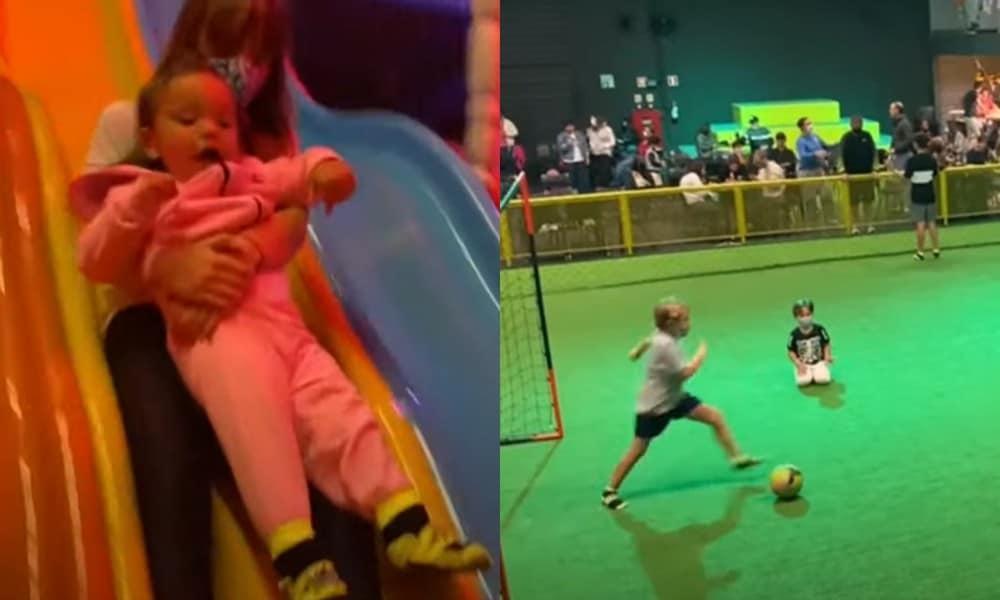 Ticiane Pinheiro mostrou as filhas e o filho de Neymar no parque de diversão