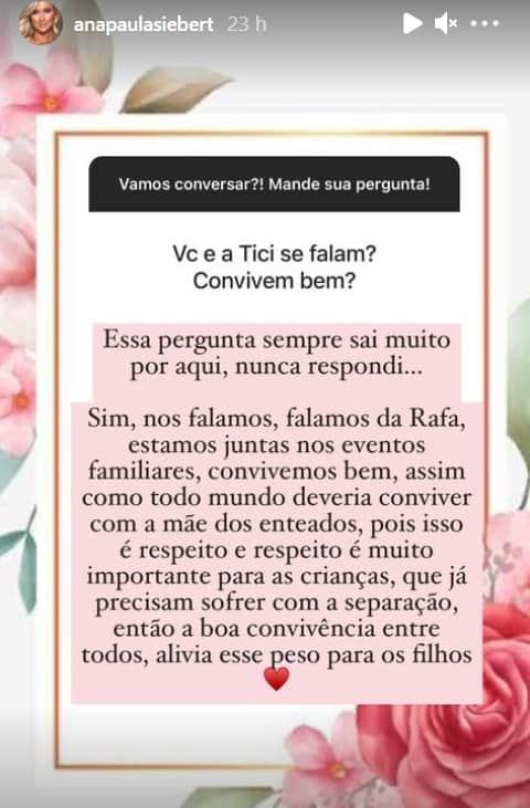 Ana Paula Siebert falando do relacionamento com a apresentadora Ticiane Pinheiro
