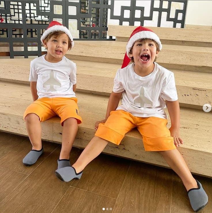Filhos de Gusttavo Lima e Andressa Suita na mansão da família