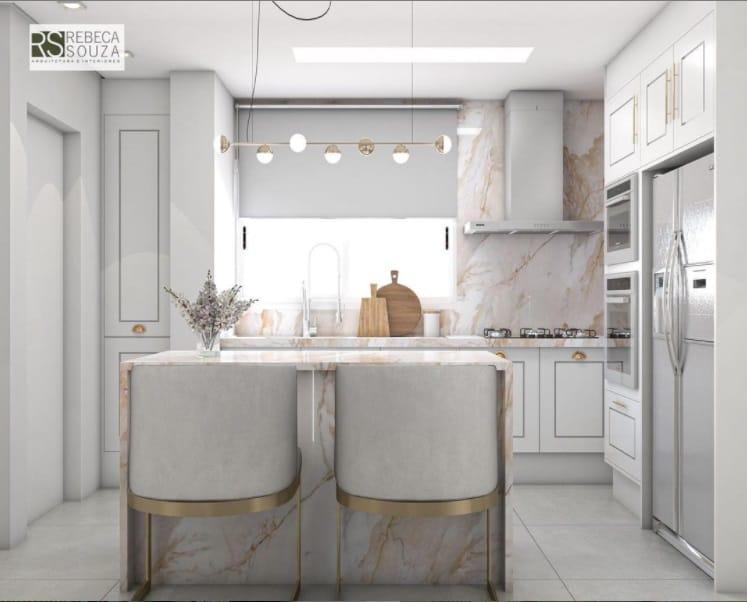 A cozinha da cobertura duplex de Flávia Viana