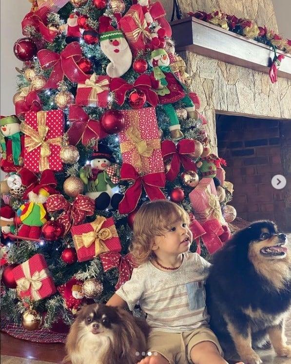 Filho de Isis Valverde e a árvore de Natal da família