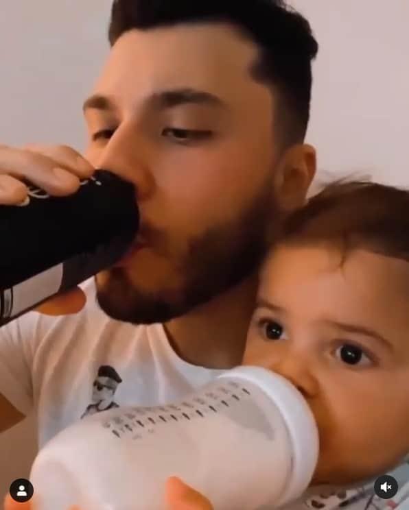 Murilo Huff e seu bebê, o pequeno Léo