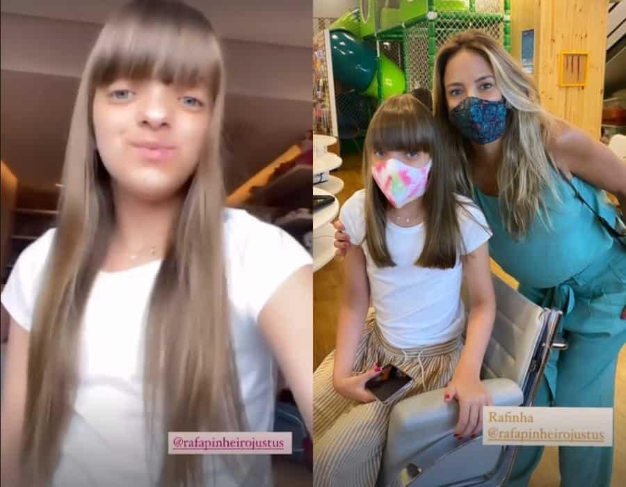 Rafaella Justus antes e depois do corte de cabelo em registro de sua mãe