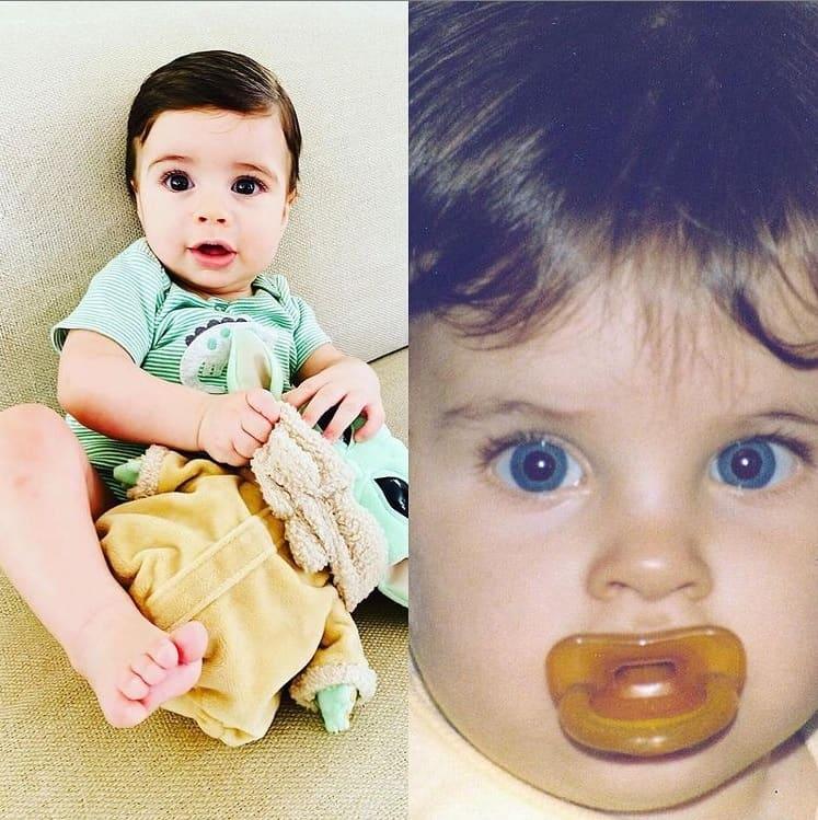 O pequeno Martin, filho de Thiago Fragoso, e o ator quando bebê