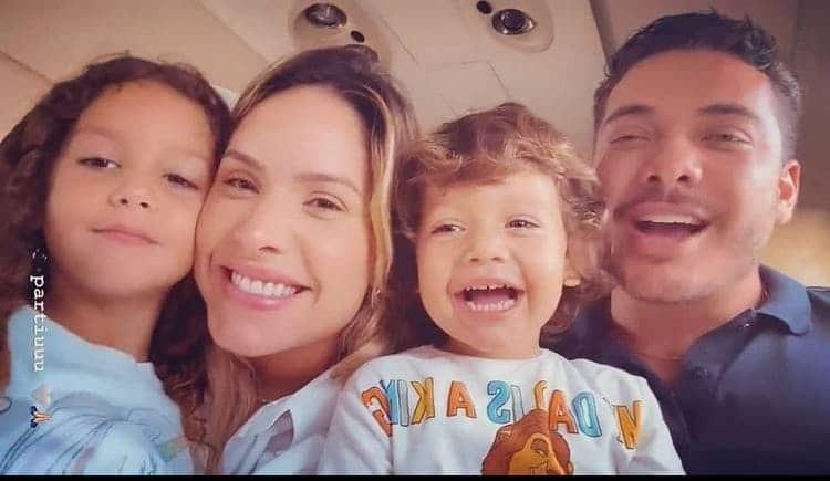 Thyane Dantas com Safadão e os filhos no avião particular