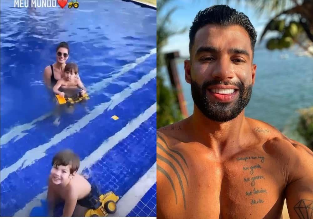 Andressa Suita e Gusttavo Lima em viagem com os filhos