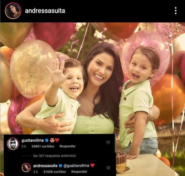 Comentário de Gusttavo Lima feito na foto de Andressa Suita