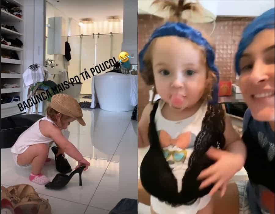 Filha de Claudia Leitte no luxuoso closet de sua mãe