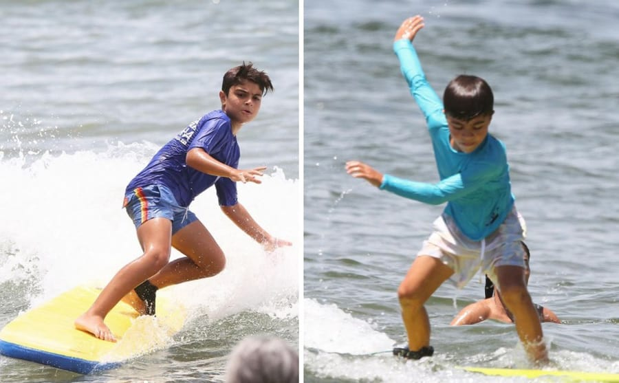 Os filhos e marido de Juliana Paes acompanharam a atriz na praia