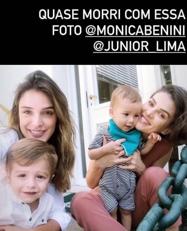 Rafa Brites com o filho e Monica Benini com seu bebê com Junior Lima