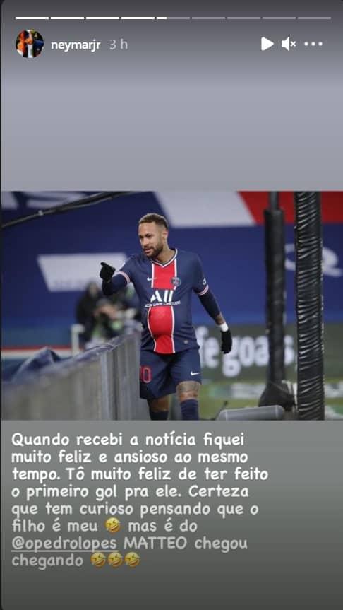 Neymar homenageando o bebê de um amigo