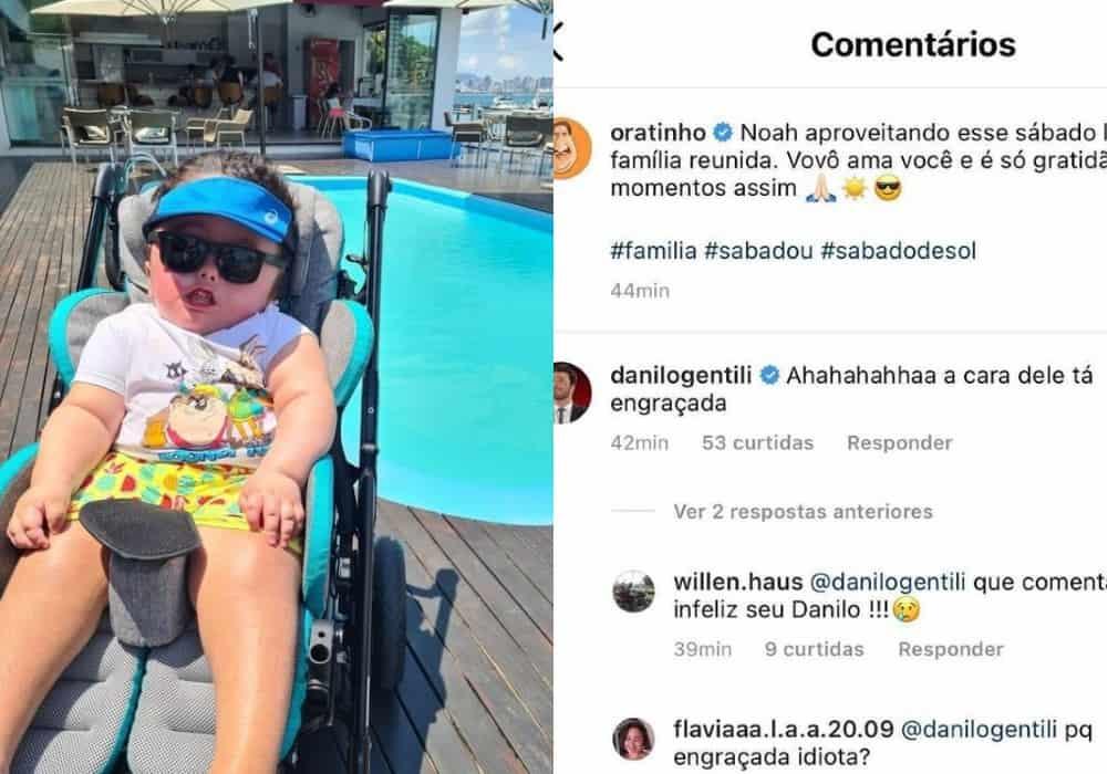 Ratinho mostrou esta foto do seu neto e Danilo Gentili fez comentário polêmico