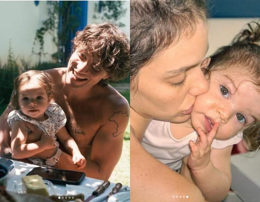 Chay Suede e Laura Neiva com a filha bebê