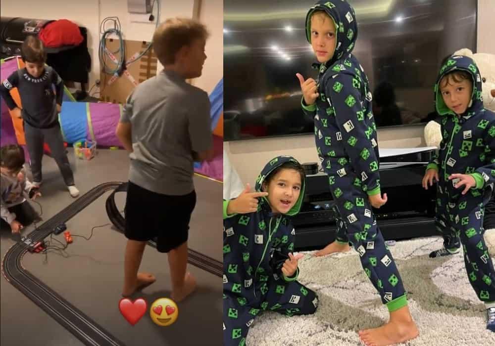Neymar mostrando o filho na sua mansão