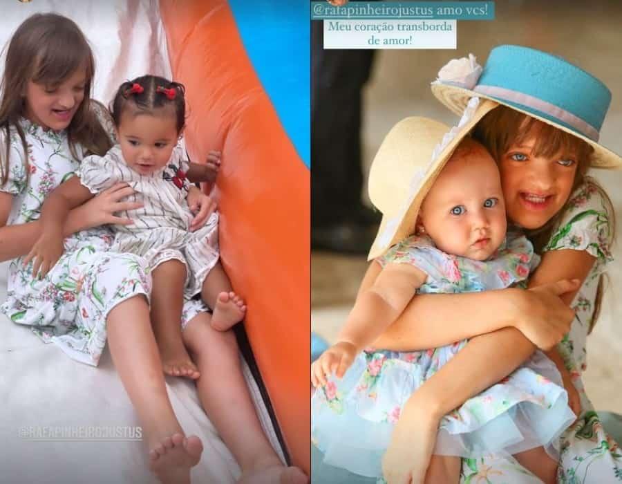 Rafaella Justus com as bebês Manuella e Vicky