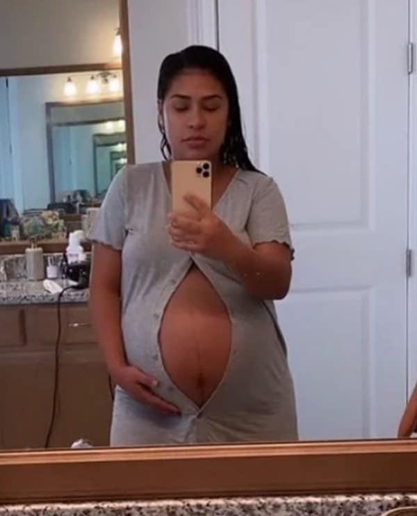 Simone com 38 semanas de gravidez